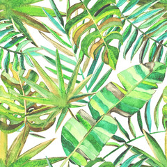 Seamless pattern with watercolor tropical leaves