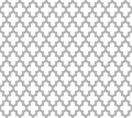 Moroccan islamic seamless pattern background in grey and white. Vintage and retro abstract ornamental design. Simple flat vector illustration.