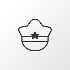 Cop Cap Icon Symbol. Premium Quality Isolated Pilot Hat Element In Trendy Style.