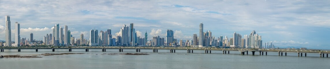 Panoramic view of Panama City skyline with skyscrapers and Cinta Costera (Coastal Beltway) - Panama City, Panama