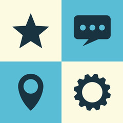 Social Icons Set. Collection Of Message, Pin, Star And Other Elements. Also Includes Symbols Such As Favorite, Location, Point.