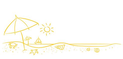 Strandurlaub mit Sonnenschirm und Meerblick