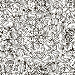Floral ornament seamless pattern. Coloring page for adults. Black and white round ornament texture, zentangle mandala. Great choice for wrapping, printing and fabric paper and for adult coloring page