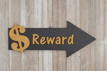 Reward this way sign