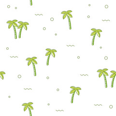 Seamless repeating pattern with palm tree isolated on white background. The texture of trees for printing on fabric.