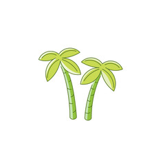 Vector palm trees in linear flat style isolated on white background. Icon with the image of two palm trees