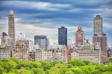 Upper East Side of Manhattan seen over Central Park, New York City, USA.