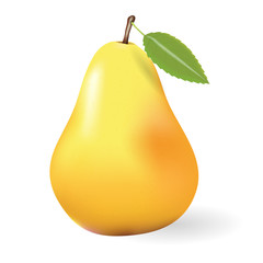 Vector illustration of a yellow pear on a transparent