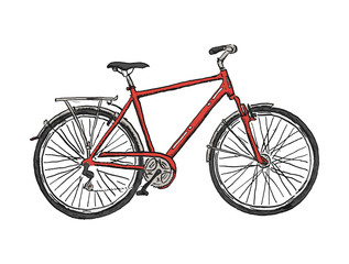 Hand drawn sketch illustration of bicycle. Vector bike illustration