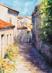 Old mediterranean street and architecture in Croatia.Picture created with watercolors.