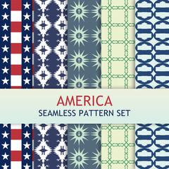 America Seamless Pattern Set