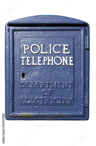 Vintage blue police call box  Isolated