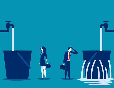 Business people and leaking bucket. Contrast between business. Vector illustration.