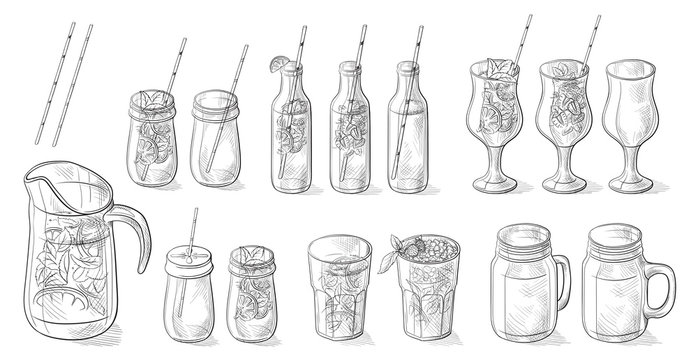 different cocktails limonade and glasses Hand drawn doodle vector illustration.