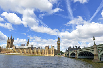 Big Ben clock tower, also known as Elizabeth Tower is near Westminster Palace and Houses of Parliament on the Thames River in London has become a symbol of England and Brexit discussions