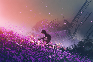 the robot sitting on purple field playing with glowing butterflies, digital art style, illustration painting