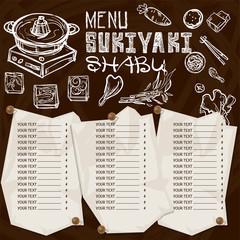 menu japanese food sukiyaki shabu restaurant template design hand drawing graphic.