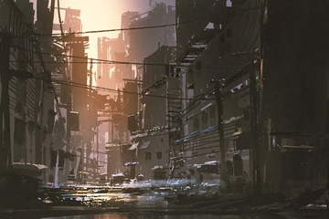 scenery of dirty street in abandoned city at sunset with digital art style, illustration painting Fototapete