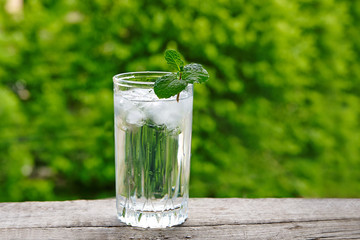 Glass with ice water and mint on a wooden table against a background of green foliage