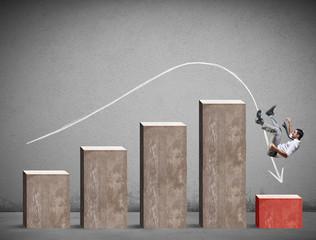 Businessman falls on a negative statistic