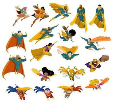superhero women and men flying