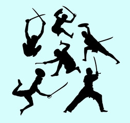Martial art male and defense action silhouette. Good use for symbol, logo, web icon, mascot, sign, sticker, or any design you want