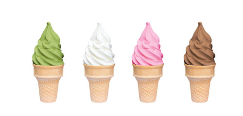 Soft serve ice cream of vanilla, strawberry, chocolate and green tea flavours on crispy cone isolated on white background (clipping path included)