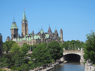 Side view of Canadian Parliament Building from the Rideau Canal