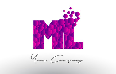 ML M L Dots Letter Logo with Purple Bubbles Texture.