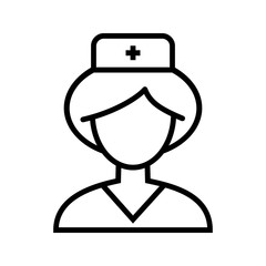 Nurse icon. Simple outline nurse vector icon on white background.