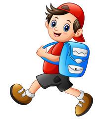 Cute school boy cartoon going to school