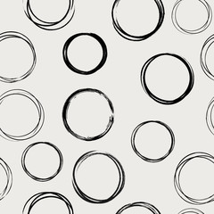 Seamless black and white pattern with abstract circles