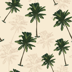 Palm tree pattern seamless in simple style vector illustration