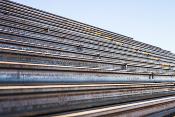 Railway Ties in piles for the construction of a new track in Australia