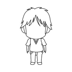 outlined little boy anime hair style stand vector illustration