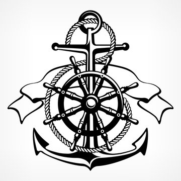 Anchor with rope, steering wheel ribbon, nautical symbols.