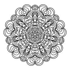 Hand-Drawn Mandala. Vector illustration. for coloring book, greeting card, invitation, tattoo. Anti-stress therapy pattern.
