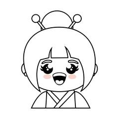 kawaii japanese girl icon over white background  vector illustration