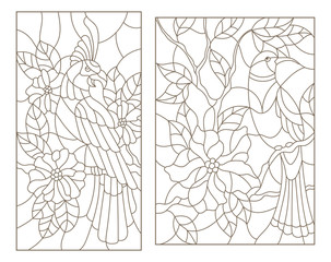Set contour illustrations of stained glass with birds on the branches of flowering plants