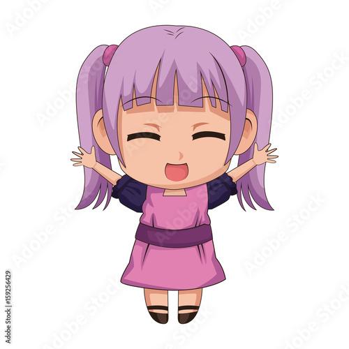 Cute Anime Chibi Little Girl Cartoon Style Vector Illustration