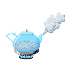 Glass kettle with boiling water and steam