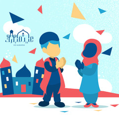 abstract cartoon character moeslim boy and girl with abstract landscape for eid mubarak greeting