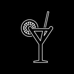 Cocktail glass icon simple flat style vector illustration