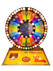 Casino gamble concept : colourful roulette game gamble wheel auto coin machine for modern casino isolate on white background