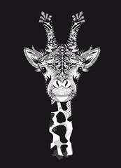 Kopf einer Giraffe mit aufwendiger Verzierung