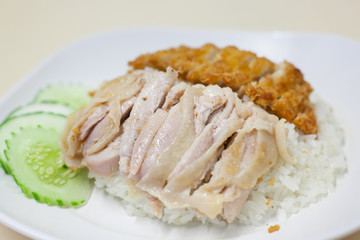 fried chicken and steam chicken with rice