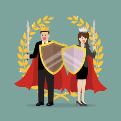 Man and woman with shield sword and golden wreath. Vector Illustration