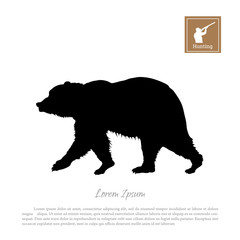Black silhouette of bear on a white background. Forest animals. Vector illustration