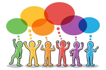 Set: Motivierte und erfolgreiche Strichmännchen mit bunten Sprechblasen / farbig, bunt, Zeichnung, gezeichnet, handgezeichnet, schraffiert, Design, Vektor, freigestellt