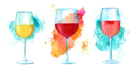 Watercolor wine glasses set with vibrant textures on white